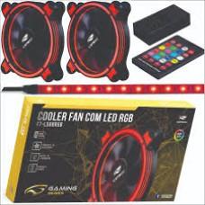 Ventilador Kit 2 Cooler Fan Rgb +fita Led C3tech F7-l500 Gamer Controle