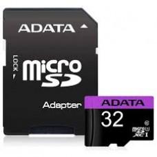 Cartão Memória Micro SD A-Data 32GB + 1 Adpt. Class 10 - AUSDH32GUICL10-RA1