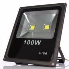 Refletor Holofote Led 100w Branco Frio Bivolt Carcaça Preto